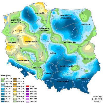 Zasięg występowania suszy w Polsce 2018